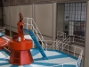 Kaplanturbinens generatortopp samt balkong till gamla kontrollrummet.