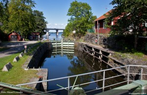 Nivåslussen i Köpmannebro med den hiskeliga lyfthöjden av 1 decimeter.