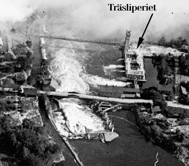 Utsnitt visande det nedbrunna träsliperiet vid Wargöns AB. Foto: Linde Barrlind / Vänersborgs museum
