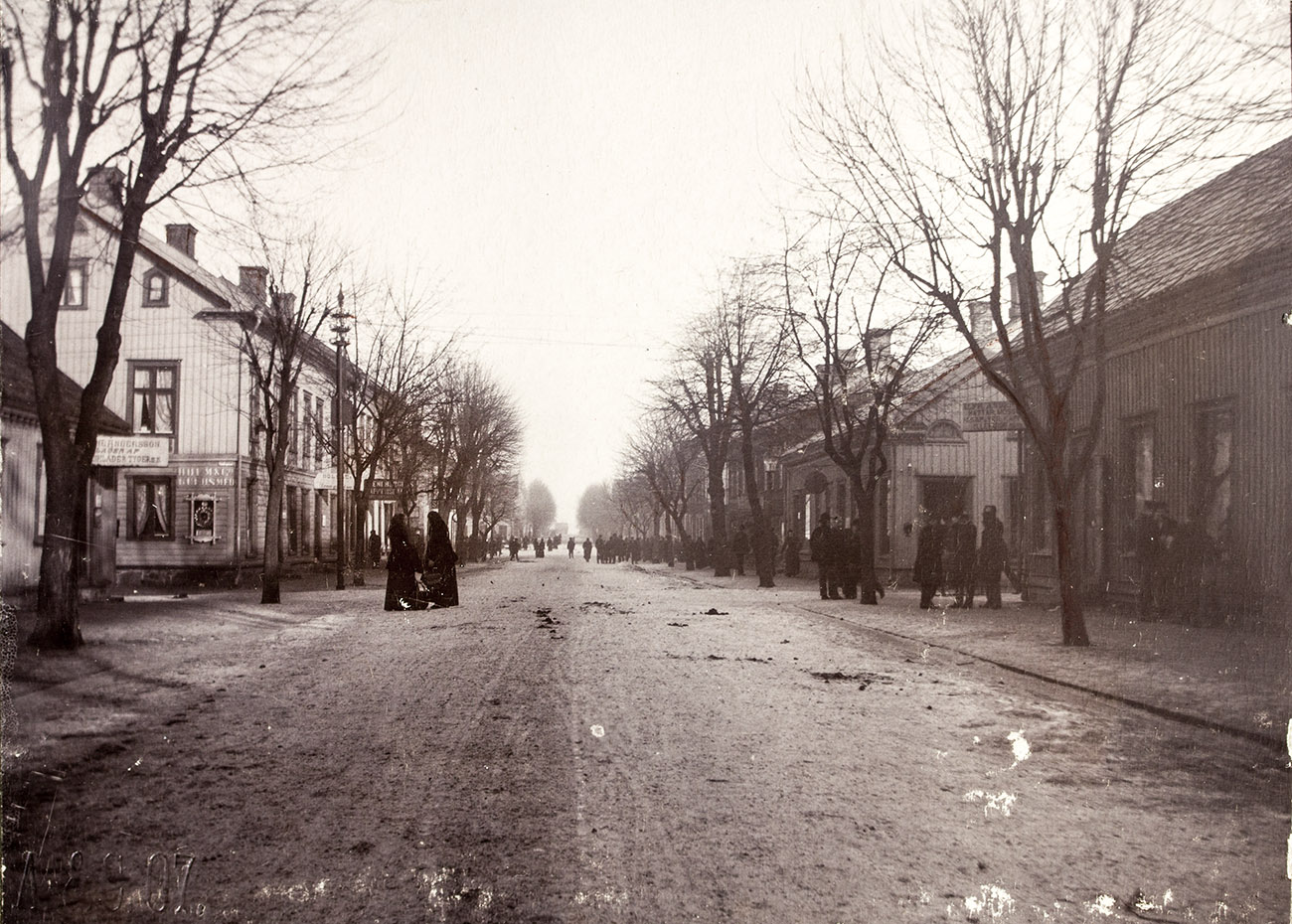 Vänersborg, korsningen Edsgatan - Sundsgatan. Foto: Präglat A & C 07 / Vänersborgs museum