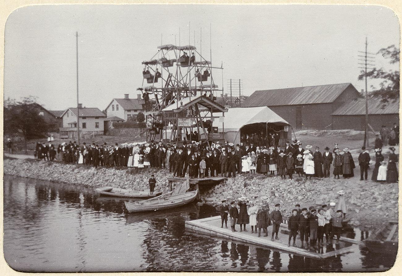 Kanaltorget i Trollhättan på 1890-talet. Foto: Georg Nyström