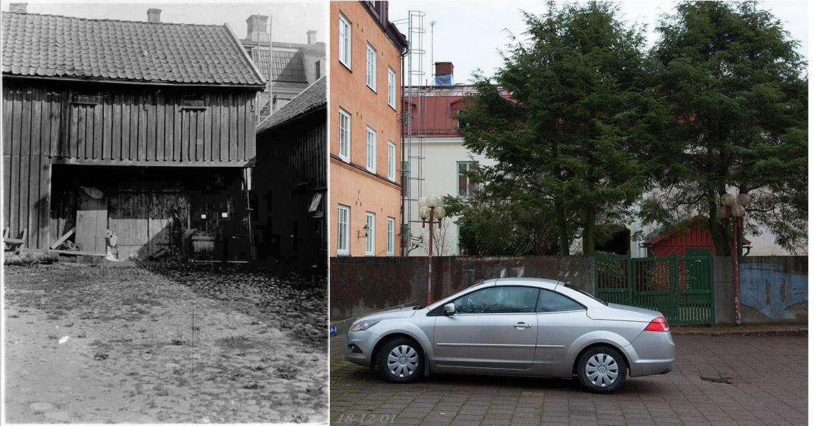 Parti av innergården Kronogatan 7 omkring 1920 och idag 2018.