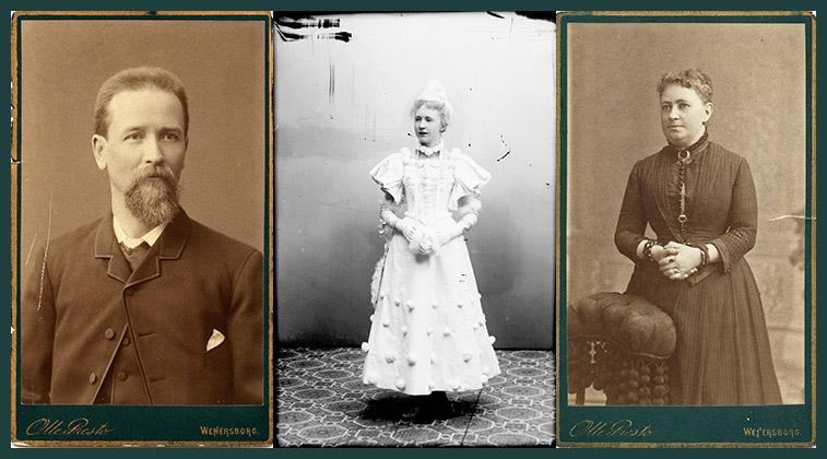 Makarna Berggren med fosterdottern Lilly i mitten. Foto: Olle Presto, K&A Vikner / Vänersborgs museum