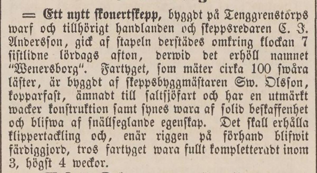 """Notis i Tidning för Wenersborgs stad och län 1860-07-09 angående skonertskeppet """"Wenersborg""""."""