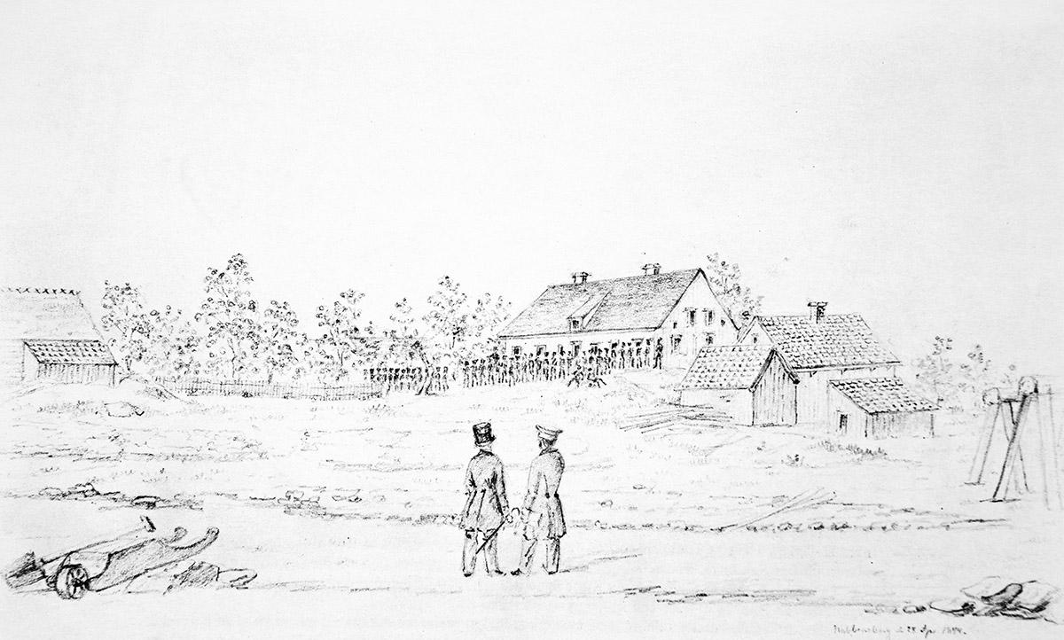 Nabbensberg den 28 april 1844. Teckning utförd av F. A. Zettergren (Vänersborgs museum)