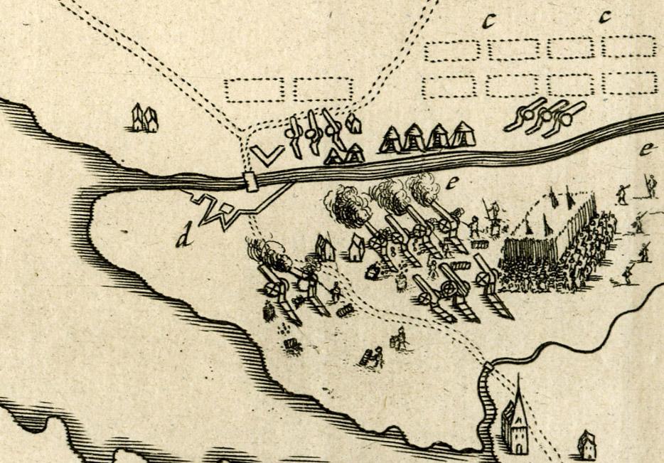 Slaget vid Gropbron den 25 juni 1676. Bron över Karls grav och halvredutten. Längst ner syns Vassända kyrka. Detalj ur en dansk karta. (Vänersborgs museum)