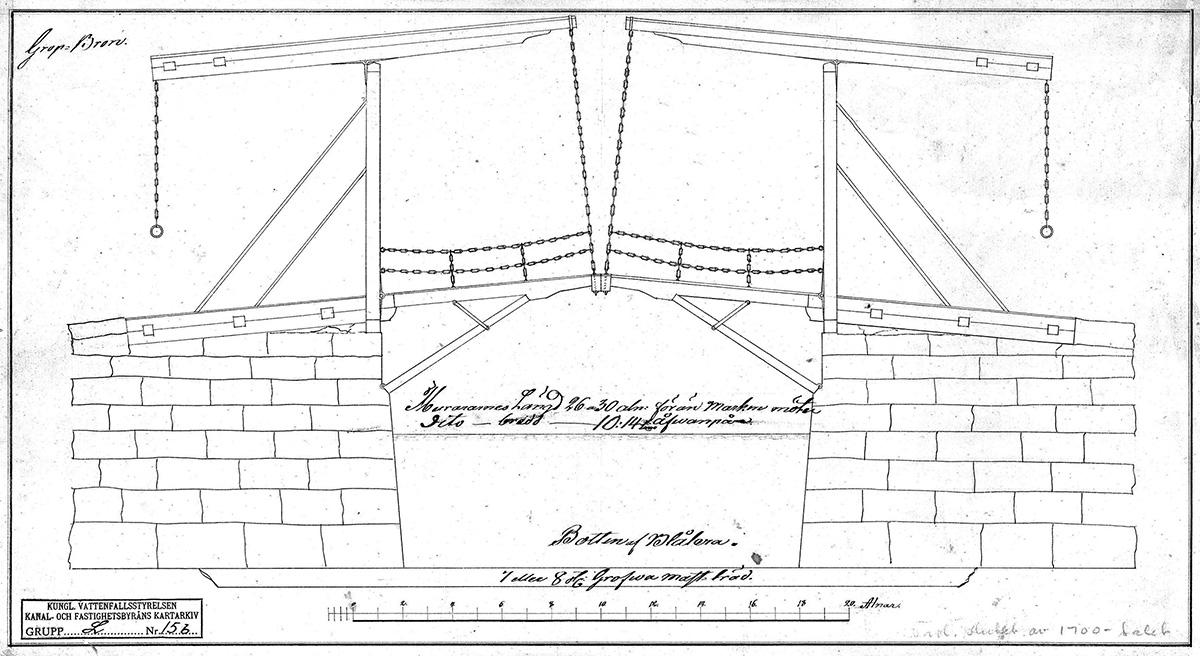 Gropbron, vindbryggan över Karls grav, 1770-tal. (Landsarkivet, Göteborg)