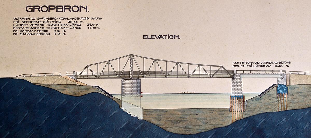 1912 års svängbro. (Landsarkivet, Göteborg)