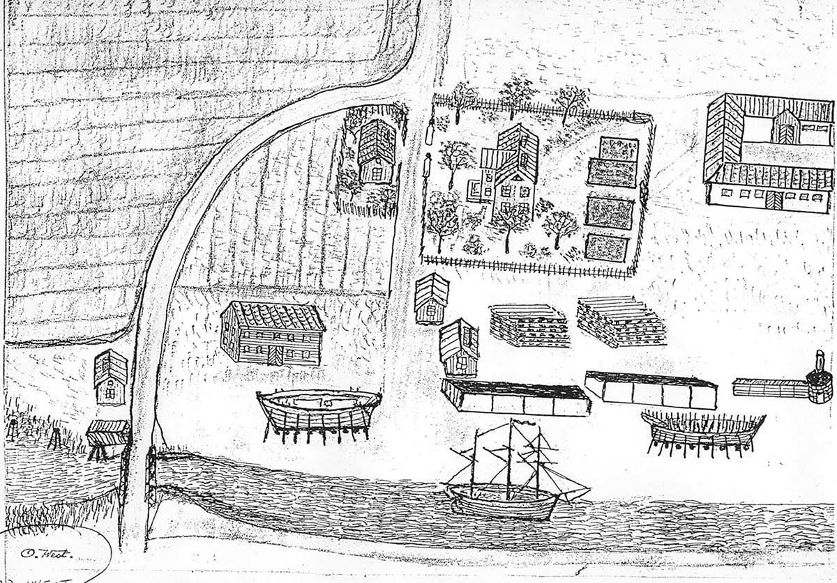 Tenggrenstorp ungefär som det kunde sett ut på 1860-70-talen. På skeppsvarvet ligger två skutor på stapelbädd under byggnad. Längst t.h. syns basrännan i vilken virket ångades för att bli formbart. Gropbron över karls grav ses nere till vänster. Teckning av bryggmästare Oscar West. (Vänersborgs museum)
