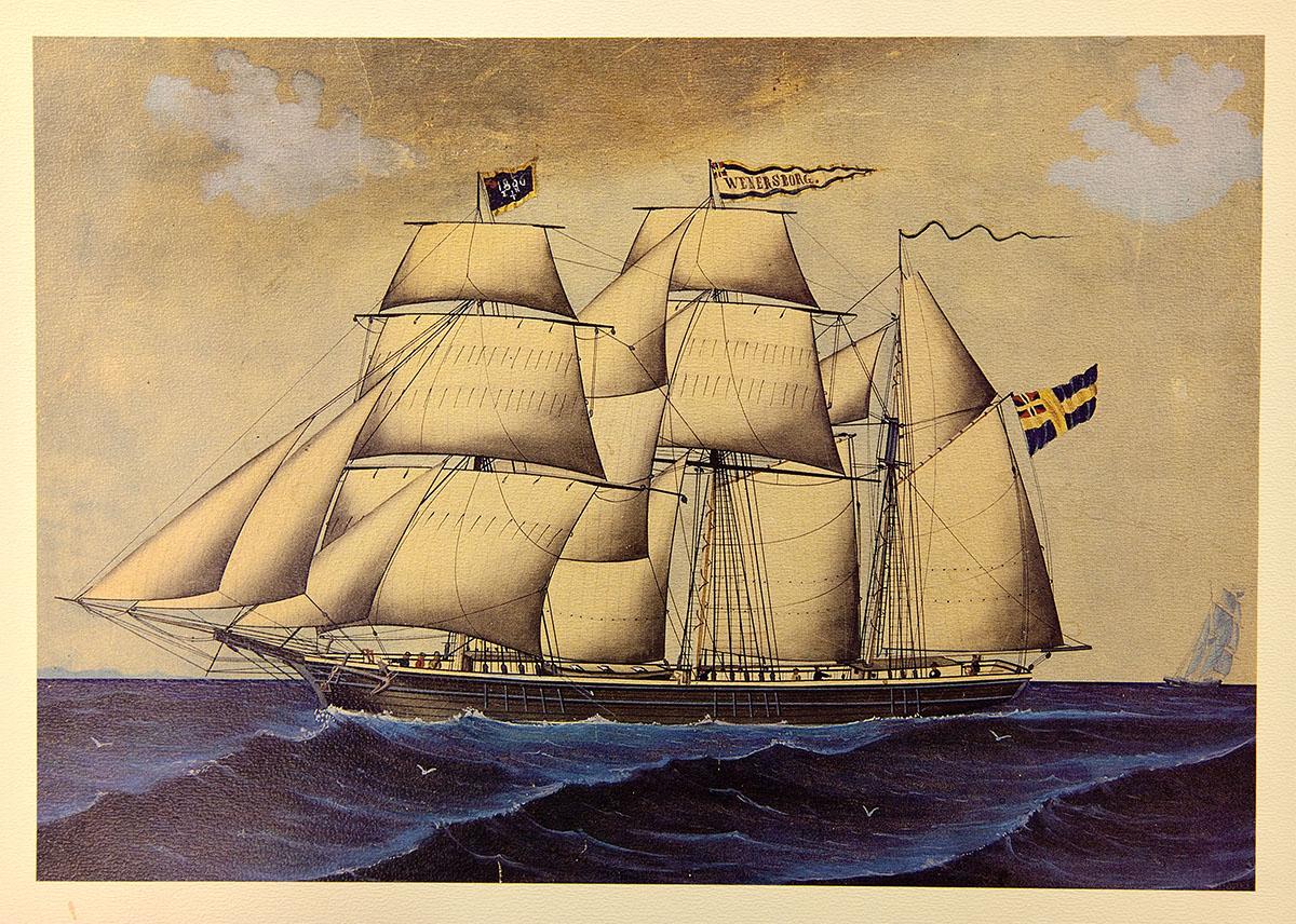 Kaptensmålning av Skonertskeppet Wenersborg reg:nr 1123, byggd på Tenggrenstorps varv 1860. Gick i utrikes fart. Gjorde resan Hartlepool – Göteborg på den korta tiden av 63 timmar vid ett tillfälle. Slopades 1897 och höggs upp vid Sjötorp 1907.